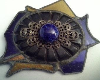Glass brooch