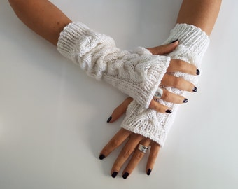 Fall fashion gloves, fingerless gloves mittens, wool arm warmers, wrist hand warmers, gift for girlfriend, winter knitted gloves accessories