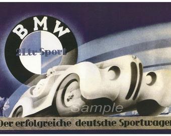 Vintage BMW 328 Racing Poster Print