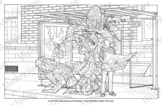 coloring page the bus stop a sci fi art image Space Theme Coloring Books  Sci Fi Coloring Book