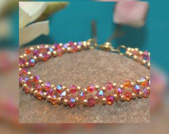 "Bracelet made of genuine Swarovski pearls ""Orange Juice"""