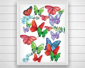 SALE 50% Butterfly Art Print, Butterfly Wall Art, Printable Wall Art Print,