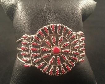 SALE Native American Zuni Coral & Sterling Silver Petit Point Cuff Bracelet