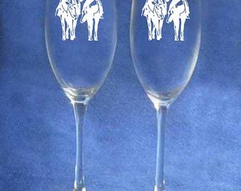 Western cowboy cowgirl horse montana wedding toasting glasses personalized
