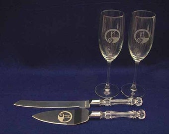 Nightmare Before Christmas Jack Sally Wedding Glasses & knife set Personalized