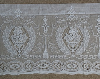 """Madelyn ~ SUPERB Cotton Lace PANEL~ 60"""" x 18"""" Cafe curtain Valance panel Brise-bise topper White or Cream lace Made in Scotland"""