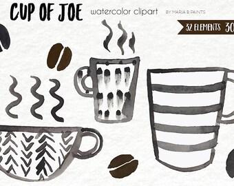 Watercolor Clip Art - Coffee, Cup of Joe, Mug, Cup, Steam, Coffee Beans, Hot, Morning, Mocha, Cafe, Latte, Java, Tea, Espresso, Roast