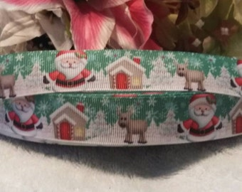 "3 yards, 7/8"" Christmas design grosgrain ribbon"