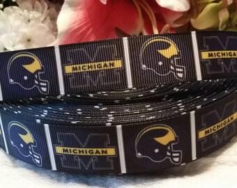 3 yards 7/8' Michigan inspired grosgrain ribbon