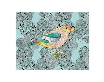 Peonies and Bird (8.5 x 11 print)