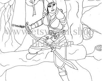 hand drawn warrior, woman, warrior, sword's, forest, armor, hood, trees, rad, drawn warrior,