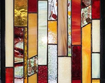 Stained glass art panel.Hanging glass window.Stained glass gift.Quilt pattern.Glass window panel.Geometric design