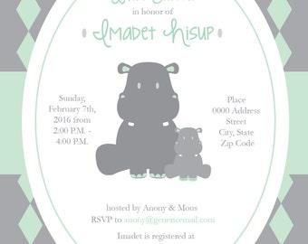 Baby Shower Announcement/Invite, Hippos, Neutral Gender