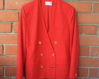 Vintage Blazer Bright Red Blazer Women's 80s 90s Blazer Double Breasted Blazer Red Jacket Golden Buttons Padded Shoulders Large/XL Size
