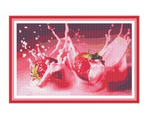 Counted cross stitch pattern Strawberries,Instant download PDF