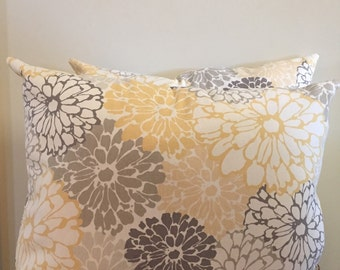 Gray yellow and white floral pillow set