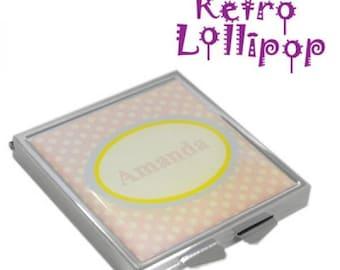 Retro Lollipop Contemporary Personalised Pink Spotty Handbag Mirror