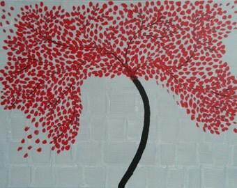 Handmade Red Tree Painting