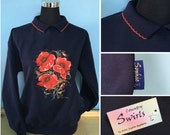 Poppy navy sweater with collar Beautiful swirly floral detailed Embroidery by popular artist Sophie Appleton , Country Swirls S M L XL