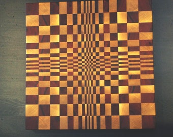 3d cutting board. African Padauk end grain cutting board. End grain cutting board. Professional cutting board.
