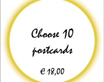 Postcard - Choose 10 postcards from my shop (A6, blanco)