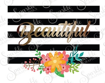 Beautiful Cut File Flowers SVG Black and White Stripe Flourish Floral Clipart Svg Dxf Eps Png Silhouette Cricut Cut File Commercial Use