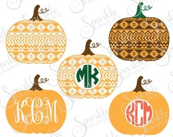 Aztec Pumpkin Monogram Cut File Fall SVG Pumpkin Tribal Autumn Monogram Clipart Svg Dxf Eps Png Silhouette Cricut Cut File Commercial Use
