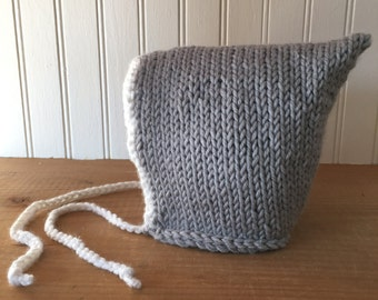 Sweet Baby Bonnet Hat in Grey and White - hand knit baby hat newborn photo prop - Ready to Ship