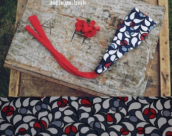 Tie-Back Headband- White and Red Drops