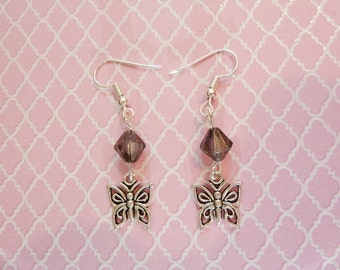 Pair of butterfly earrings for black