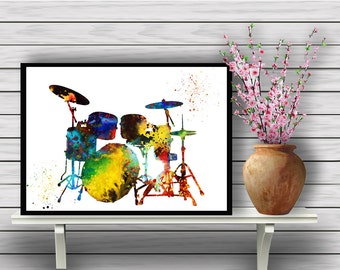 Drum Set Poster,Colorful Instrument, watercolor print, Drums, Music watercolor illustration,gift, print(03)