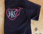Stethoscope Heart Monogram Tshirt-Glitter-Vinyl-Nurse-HTV