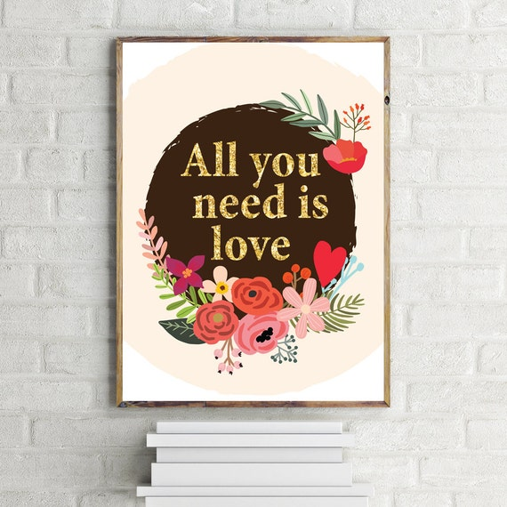 Wall Decor All You Need Is Love : All you need is love printable art wall decor typography