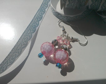 Disco style pink earring