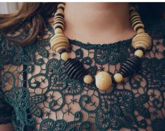 1980's Vintage Wooden Boho Necklace
