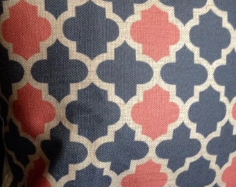 "Grey coral moroccan cushion cover 18"" cotton linen"