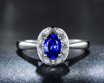 0.7ct AAAA Oval Tanzanite Engagement ring,VS Diamond wedding band,14K White Gold,Floral Promise Bridal Ring,Blue Gemstone ring,Fine Jewelry