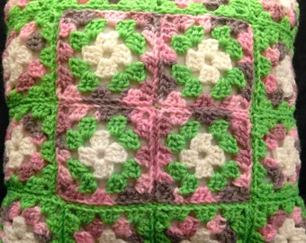 Crochet Afghan Square Pillow