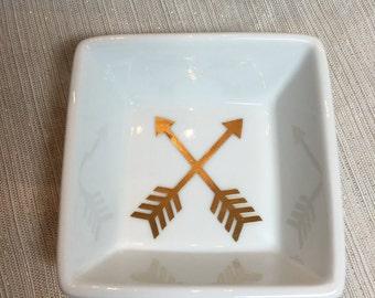 Jewelry Dish   gold arrows