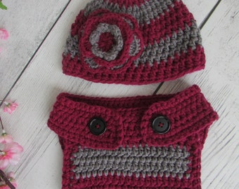 Baby Girl Hat and Diaper Cover Set