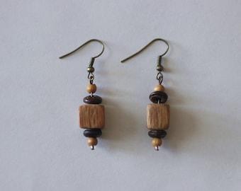 Wooden Square Earrings