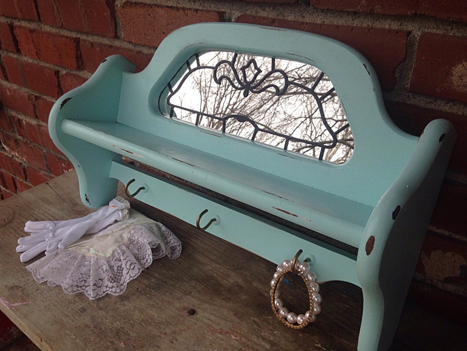 Mint Blue Mirrored Shelf With Hooks By Not2shabe On Etsy