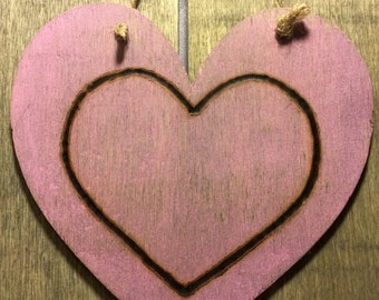 Hanging wood stained and woodburned pink heart