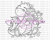Sello digital, sello de Digi, Tori al dragón con pastel de corazón por Conie Fong, amor, celebración, cumpleaños, felicitación, página para colorear