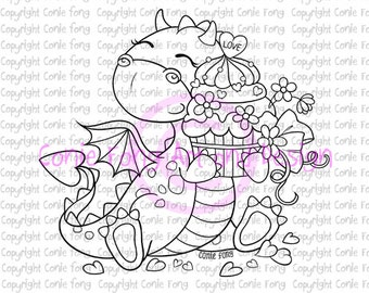 Digital Stamp, Digi Stamp, Tori the Dragon with Heart Cake by Conie Fong, birthday, love, celebration, congratulation, coloring page