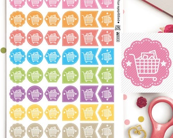 Grocery Trolley Assorted Shapes Planner Stickers | Chores | Weekly Tasks | Market | Shopping | Reminders | Hexagons