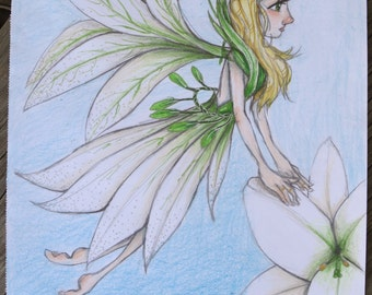 Springtime Easter Lily Fairy ART PRINTS