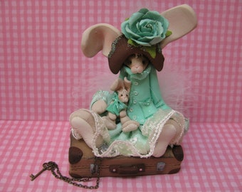 FREE SHIPPING! Polymer Clay Art Easter Bunny Rabbit on Suitcase Sculpture-Aqua
