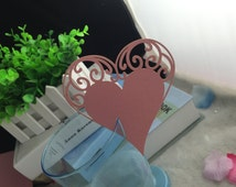 Wedding Party Decoration Pink 100pcs Free Shipping Heart Table Place Card Wine Glass Birthday Decoration Table Wine Glass Place Card