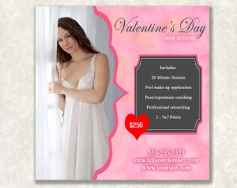 Valentine's Day Boudoir Mini Session Marketing Template, 5x5, Perfect for Instagram or Facebook